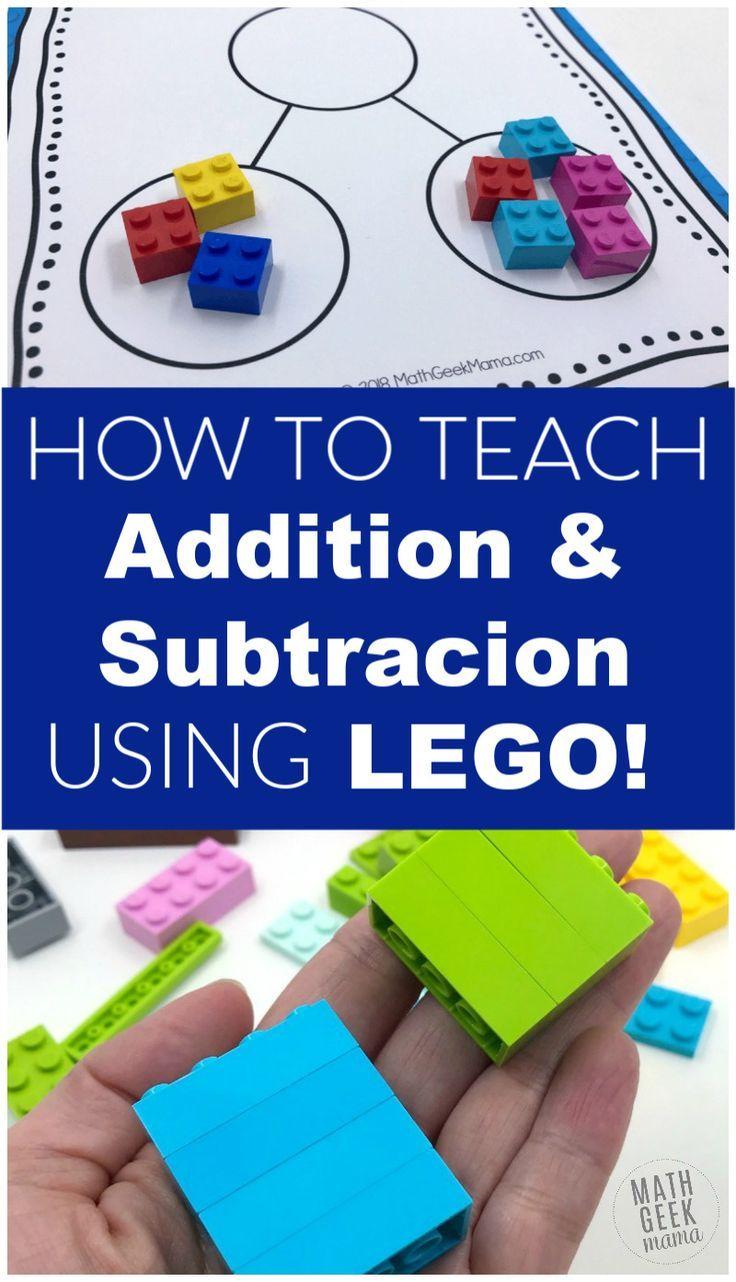How To Teach Addition Subtraction With Lego Bricks Teaching Math Kindergarten Fun Math Activities Play Math How to teach adding and subtracting