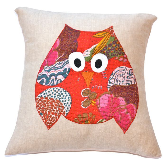 Applique kantha-print cotton pillow sham in red with an owl motif. Product: Pillow shamConstruction Material: CottonColor: Red and multiDimensions: x Insert ...