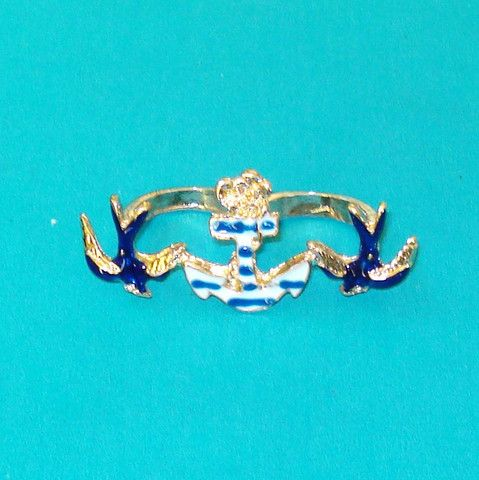 Swallow & Anchor Two-Finger Ring - Mookie Designs