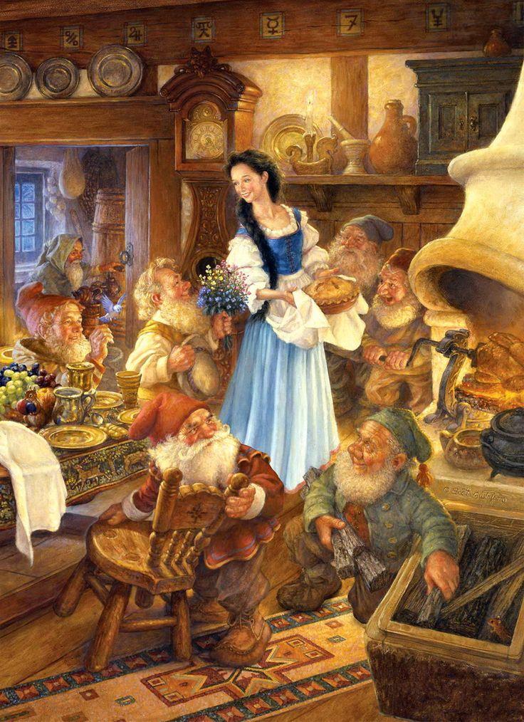 Blanche Neige Comptes Allemand des Frères Grimm  Une reine se désolait de ne pas avoir d'enfant. Un jour d'hiver, alors qu'elle était assise près d'une fenêtre au cadre d'ébène, elle se piqua le doigt en cousant et quelques gouttes de sang tombèrent sur la neige.