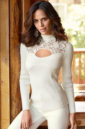 Lace detail turtleneck sweater