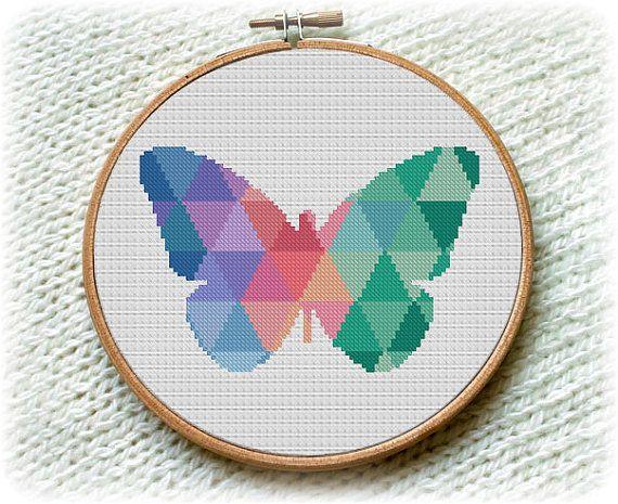 BOGO FREE Mosaic Butterfly Cross Stitch Pattern by StitchLine