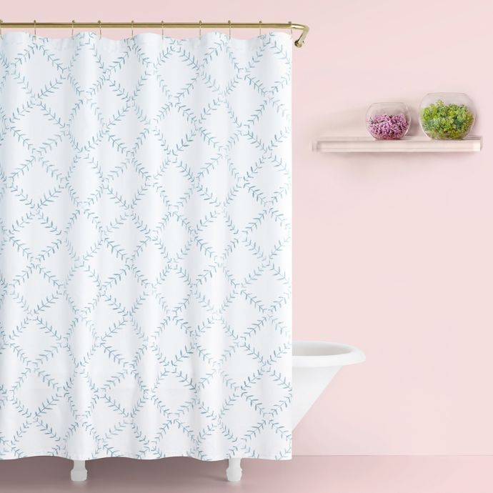 Kate Spade New York Fern Trellis Shower Curtain In Turquoise Bed Bath Beyond Bathroom Accessories Design Striped Shower Curtains Shower Curtain