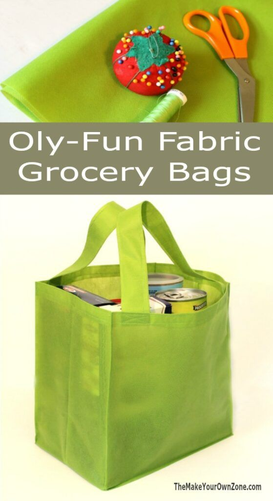 Sewing Pattern To Make A Reusable Grocery Bag - This simple tutorial uses Oly-Fun fabric fora tote bag that's not floppy!  Oly-Fun fabric does not have a right or wrong side, no bias, and doesn't fray!
