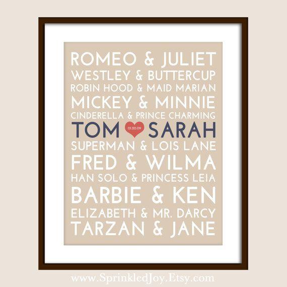 Couples célèbres métro Print - 24 x 30 entièrement personnalisable -, Saint-Valentin ou un mariage Unique 30.08€