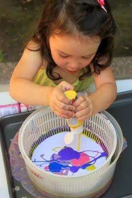 fournitures: -Essoreuse à salade Peinture-acrylique - en différentes couleurs -Papier épais - comme du papier de construction -Crayon -Ci...