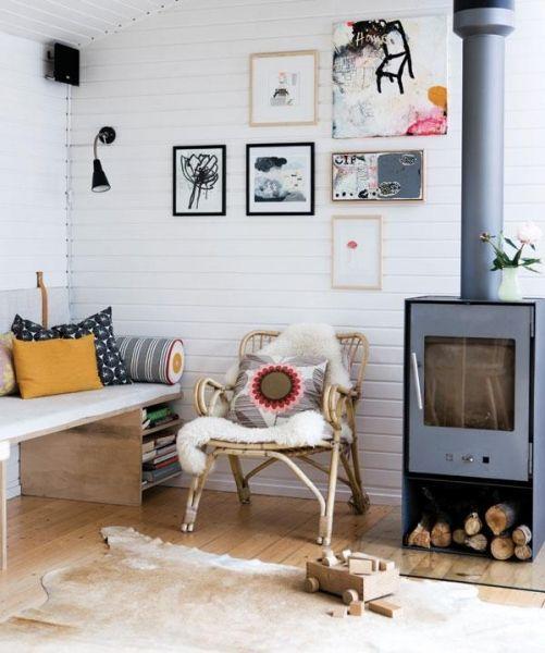 Log burner in a wooden interior: Galleri - Stuer