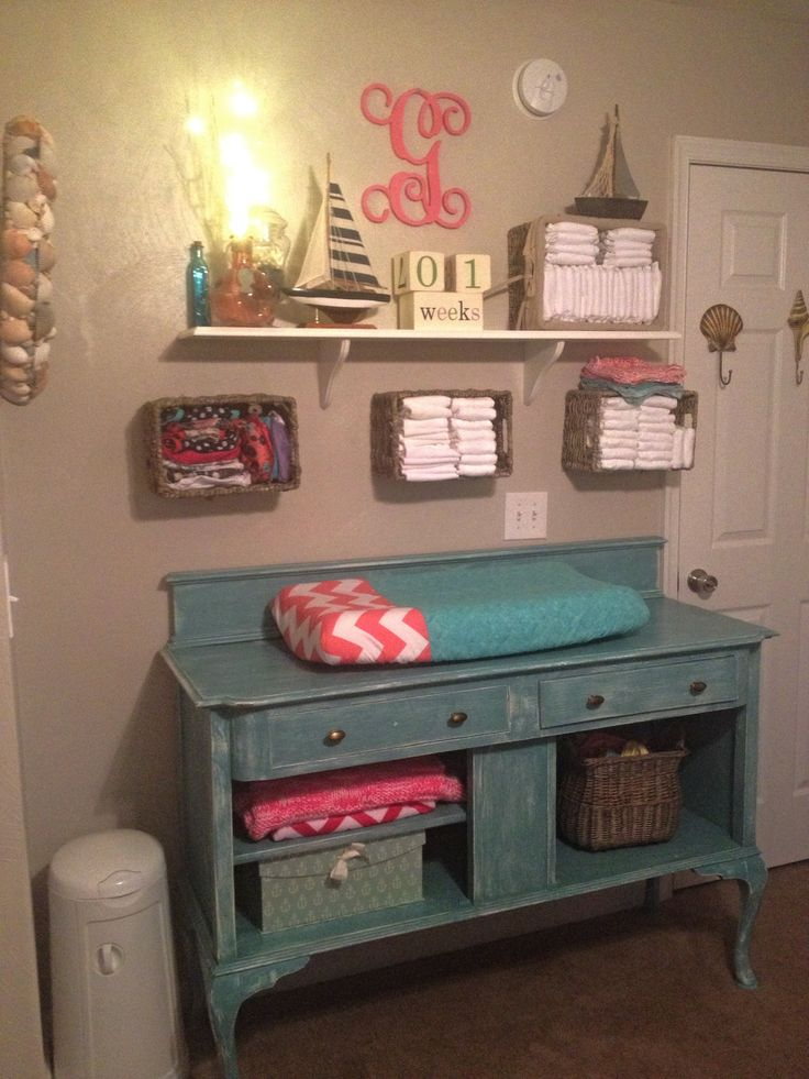 Girls Nautical theme, distressed antique buffet changing table, cloth diaper storage