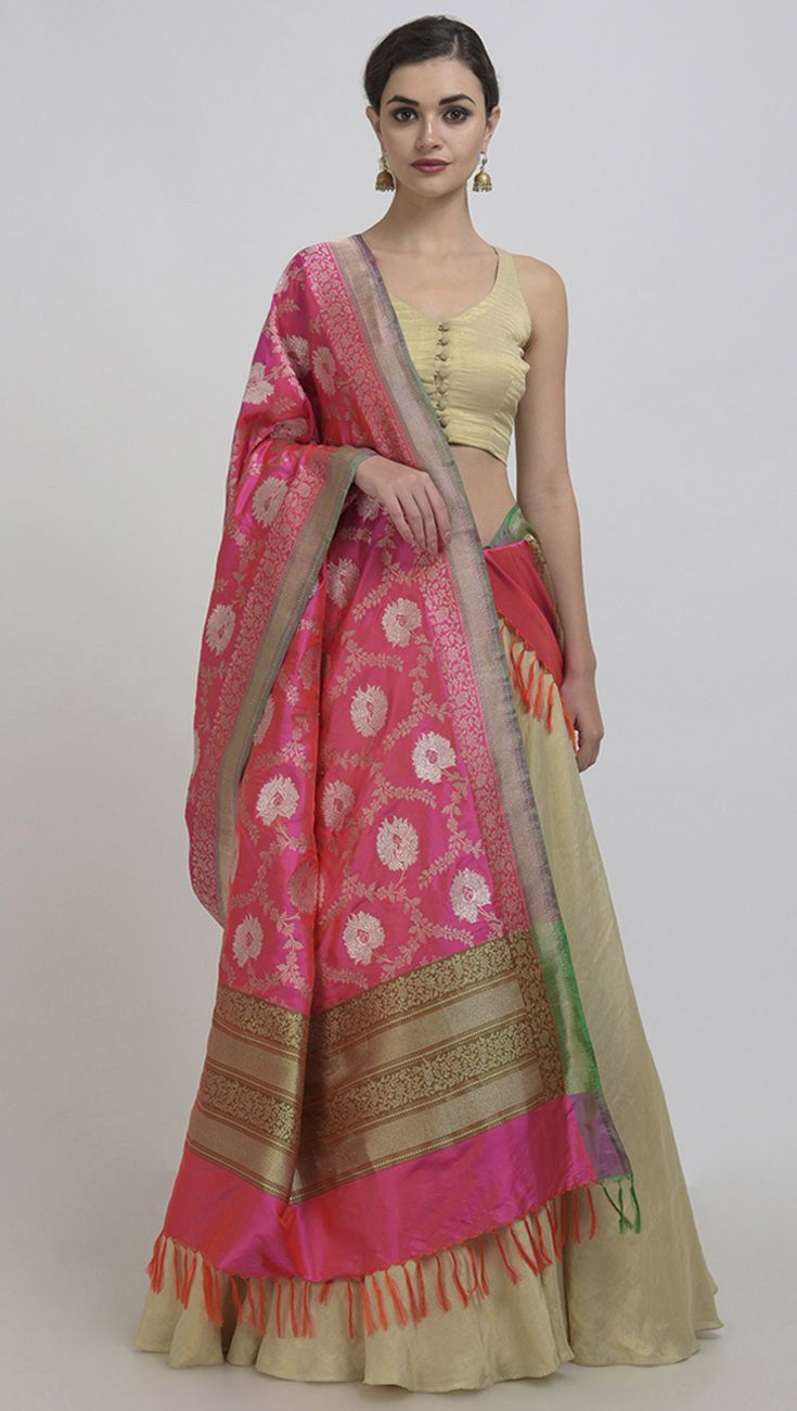 aee798087652 Pink-Orange Shot Banarasi Zari Hand Woven Dupatta With Crop Top & Skirt