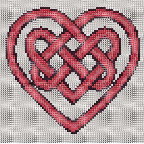 Cross Stitch Pattern Red Heart Knot PDF by PerkiliciousPatterns