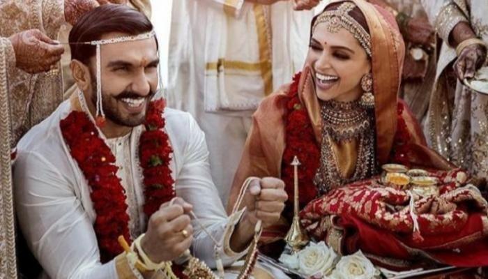 بالزي الهندي نجمة بوليوود ديبيكا بادوكون تحتفل بالذكرى الأولى لزواجها من رانفير سنيغ صور Bollywood Wedding Marriage Pictures Celebrity Weddings