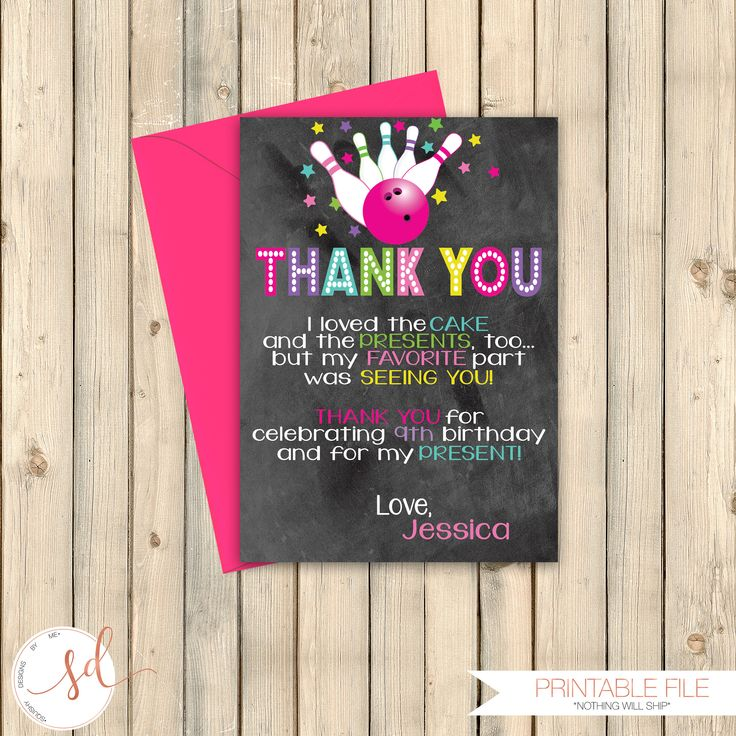 Bowling Bash Birthday Thank You Note Card, Roll On Over, Time To Strike Up Some Fun Invite, Boy Bowling Party, Bowling Ball Pins, Digital by SquishyDesignsbyMe on Etsy