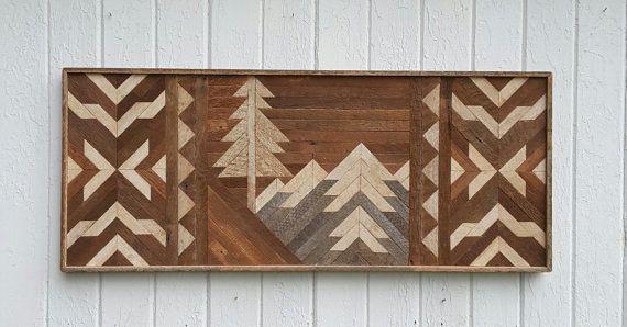 Reclaimed Wood Wall Art  Decor  Mountains  Twin by PastReclaimed