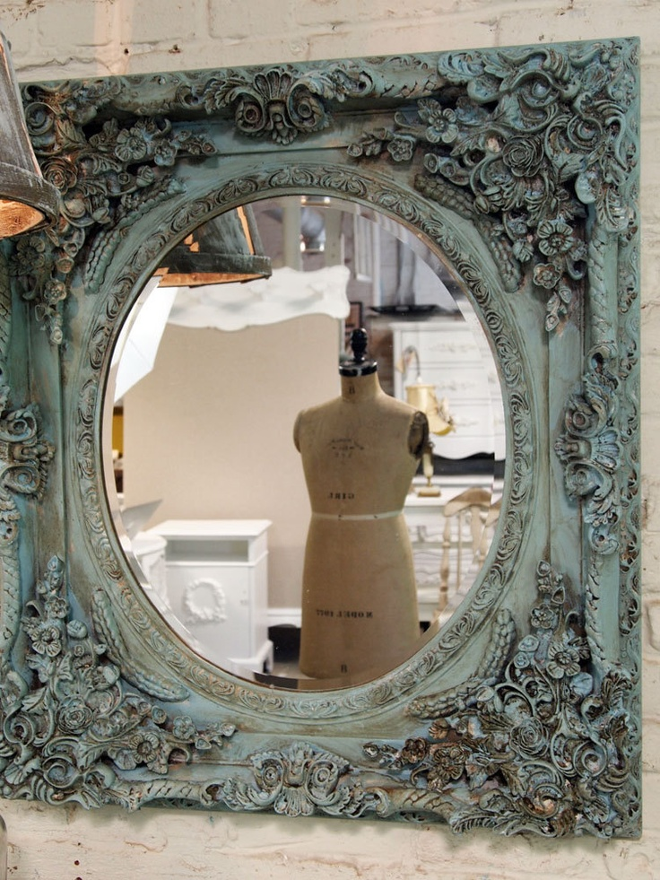 Painted Cottage Chic Shabby Aqua French Mirror by paintedcottages