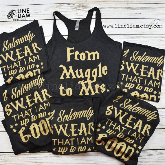 bachelorette party, bachelorette party ideas, harry potter shirts, muggle to mrs…