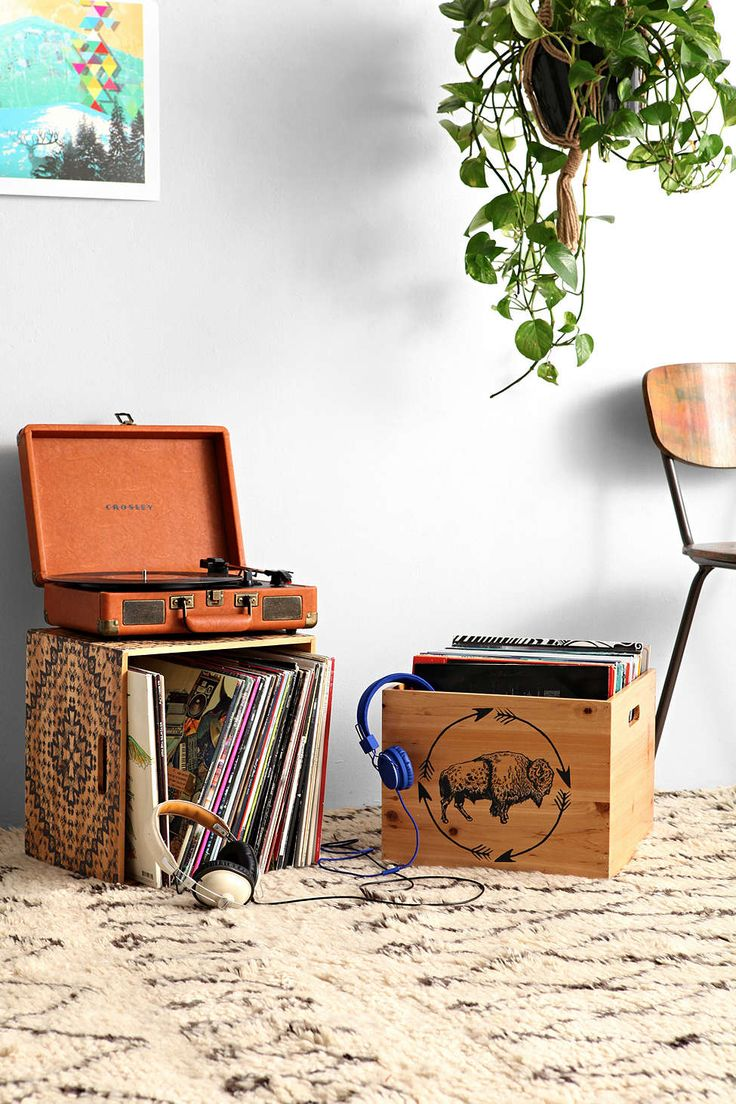 Wooden storage crates for records great way to display collection