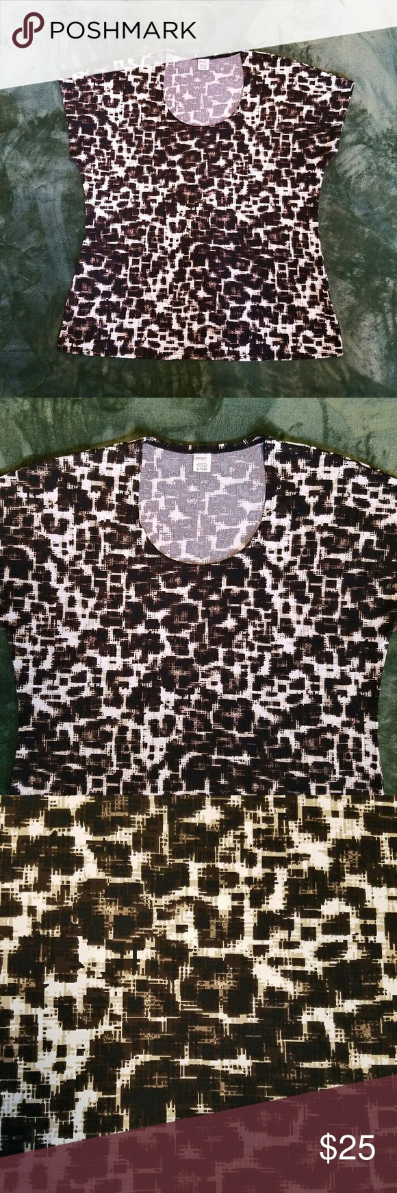 """Jockey Brown Black Beige White Pattern Top XL Soft stretchy women's cap sleeve top. Colors brown, black, beige and white  (my phone camera doesn't capture it well in my farmhouse) cross hatch abstract pattern.  Scoop neckline.  Perfect travel attire,  toss in suitcase pull out and wear. Doesn't wrinkle. No rips, stains or repairs.  Sz XL measures 44"""" bust,  26.5"""" overall length.  (Bin4) Jockey  Tops"""