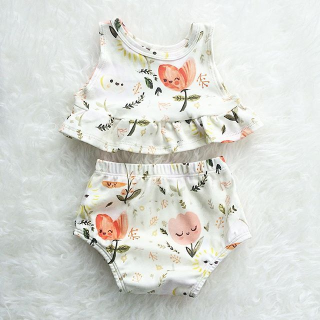 Itty bitty teeny tiny Floral Dreams Peplum Set Liapela.com