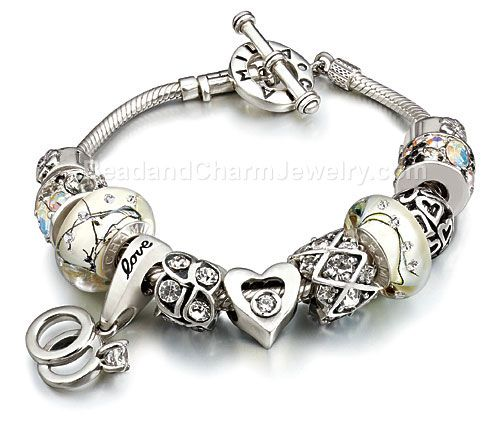 Silver Pandora Inspired Charm Initials with CZ Crystals -European Charms, beads - Fits all Pandora, Chamilia Charm Bracelets
