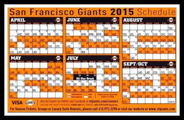 S.F. Giants 2015 schedule