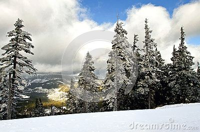 Winter mountain landscape in resort Spindleruv Mlyn.