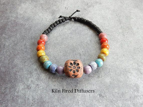 Rainbow Clay Stretch Bracelet Aromatherapy by KilnFiredDiffusers