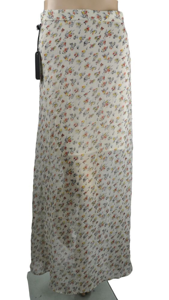 NEW LUCCA COUTURE SKIRT MAXI LONG FULL FLORAL SHEER WHITE WOMENS SIZE S SMALL #LuccaCouture #Maxi