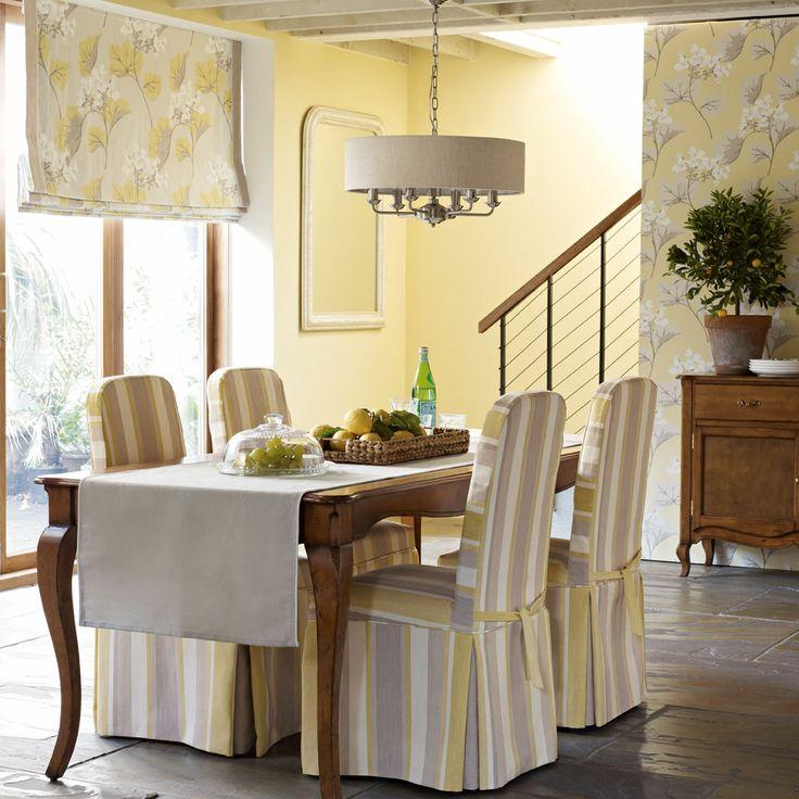 Laura Ashley Furniture Usa: Awning Stripe Cotton Linen Fabric Camomile