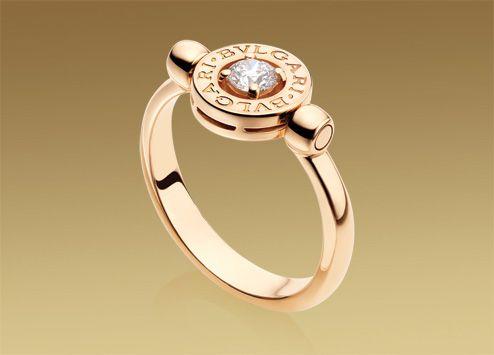 bulgari bulgari flip ring in 18 kt pink gold with ct diamond