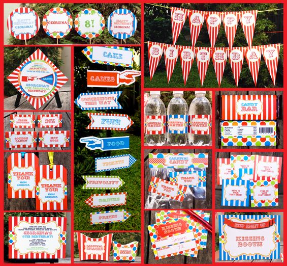 Carnival Birthday Party Invitation & Complete Printable Collection