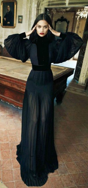 Gucci georgette pleated and velvet gown.