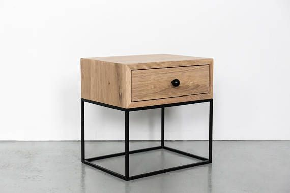 Industrial Nightstand Mid Century Industrial Style Solid Oak Wood And Black Finish Metal Legs Bedside Table End Table No Id 02 02 In 2020 Bedside Table Design Oak Wood Industrial Bedside Tables