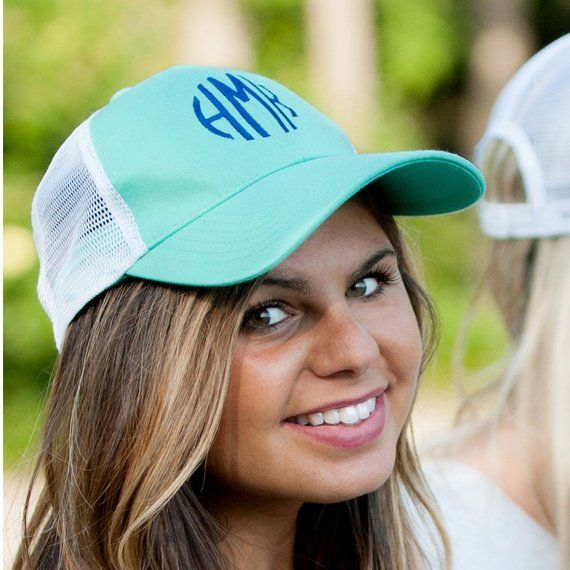 Mint Monogrammed Trucker Cap Monogram Hat Personalized Ball Etsy In 2021 Monogram Hats Trucker Hat Trucker Cap
