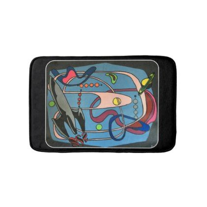 #'MidCentury Mod Space is the Place' painting on a Bath Mat - #Bathroom #Accessories #home #living