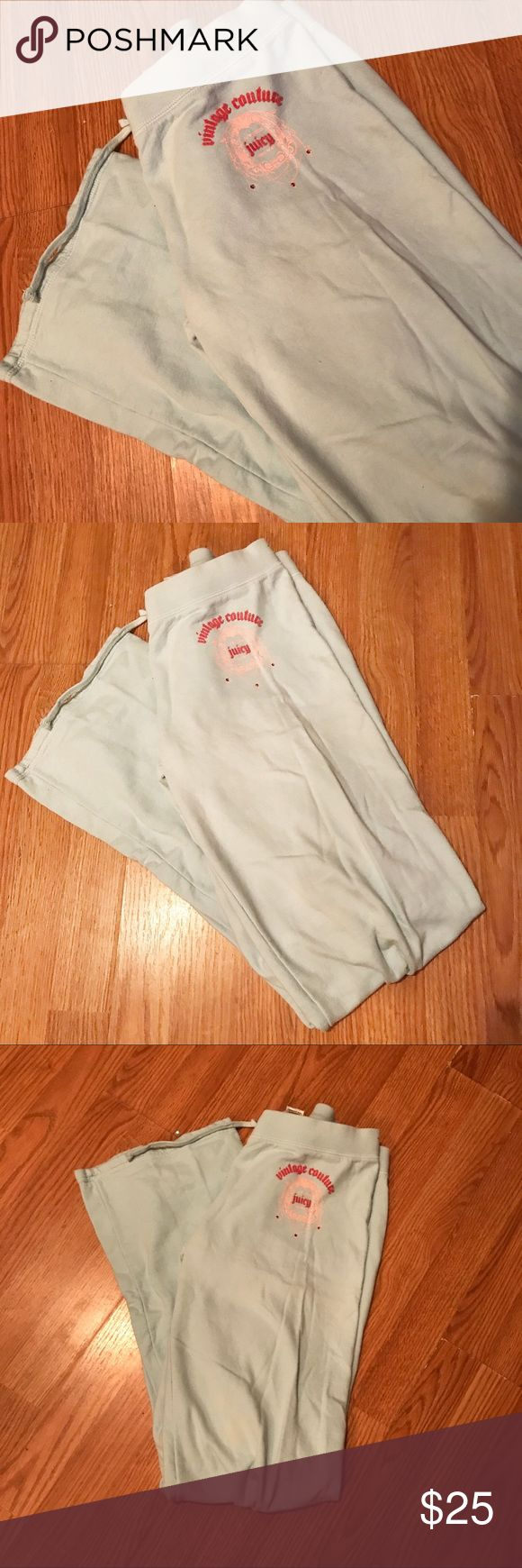 vtg   baby blue   juicy couture wide leg sweatpant Vintage life baby blue JUICY COUTURE wide leg sweatpants. Size medium. Excellent condition; no flaws or defects at all. Only worn a few times and just been kept in my closet. Very comfortable, warm.   #juicy #couture #vintage #vtg #sweatpants #bling #christmas #shop #sale #gift #present Juicy Couture Pants Track Pants & Joggers