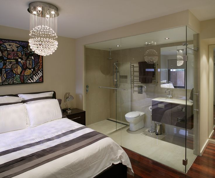 Ensuite bathroom completley glass in within the bedroom for Bedroom ensuite ideas