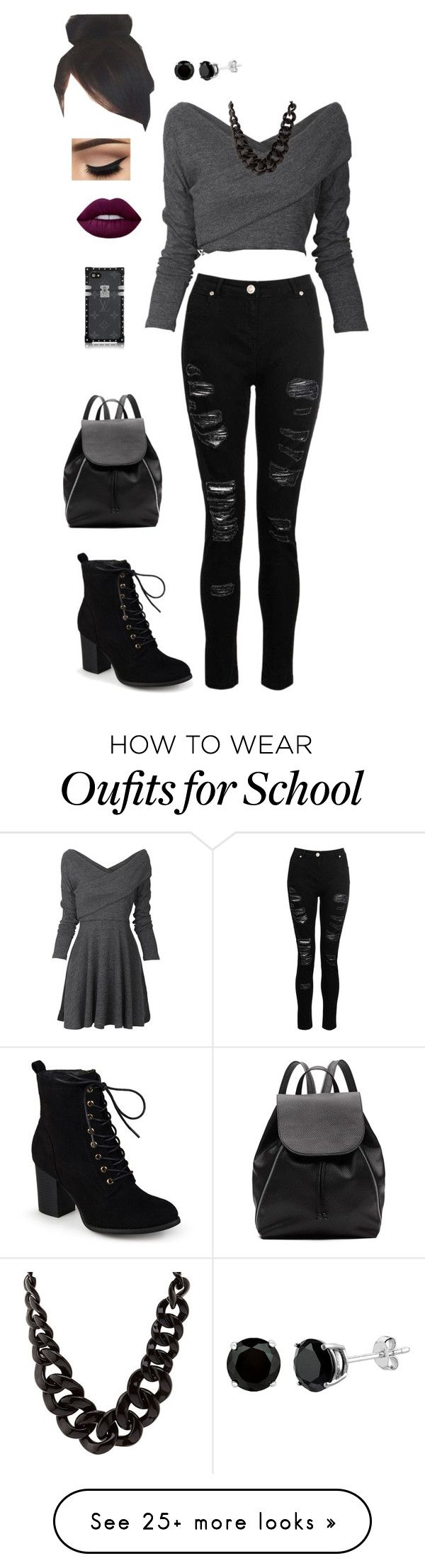 """Rebel high school"" by goddessofbacon on Polyvore featuring Dorothy Perkins, Journee Collection, Charlotte Russe, Lime Crime and Witchery"