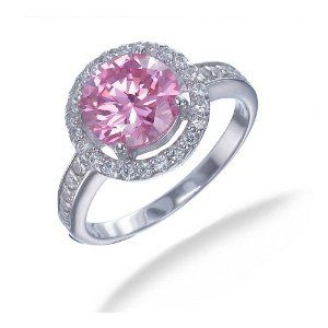 .: Silver Pink, Sterling Silver, White Cz, Jewelry, Rings, Engagement Ring