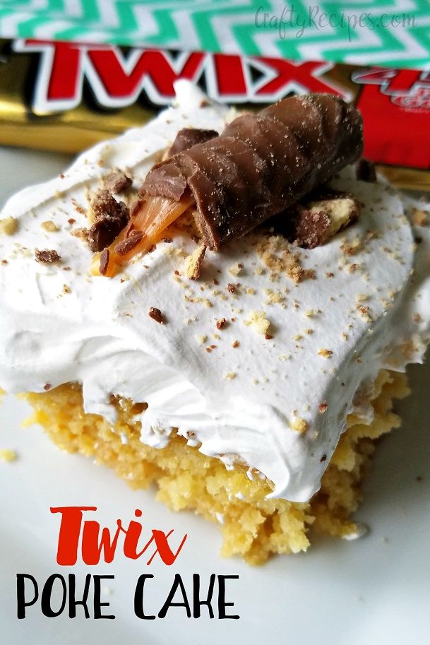 Here's a very SWEET dessert idea that's super moist and yummy! It's a caramel poke cake with twix candy bars sprinkled on top. You could…