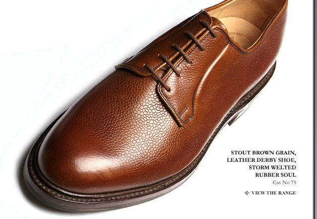 George Cleverley Stout Brown Grain Leather Derby Shoe