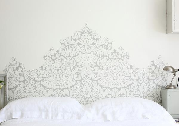 Pictured, Farrow and Ball Silvergate BP 852 wallpaper and All White Estate Emulsion on wall.
