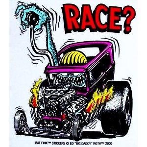 Rat Fink RACE Hot Rod Sticker.