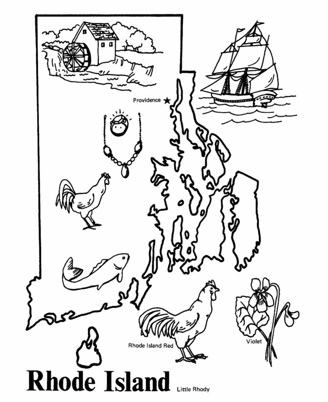 Rhode Island State outline Coloring Page Classical