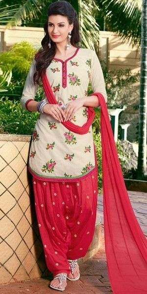 Brilliant Beige And Red Cotton Patiala Suit.