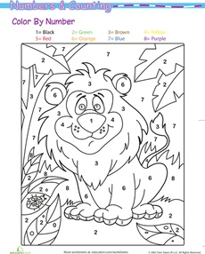 Color by Number: Lion in the Jungle Worksheet