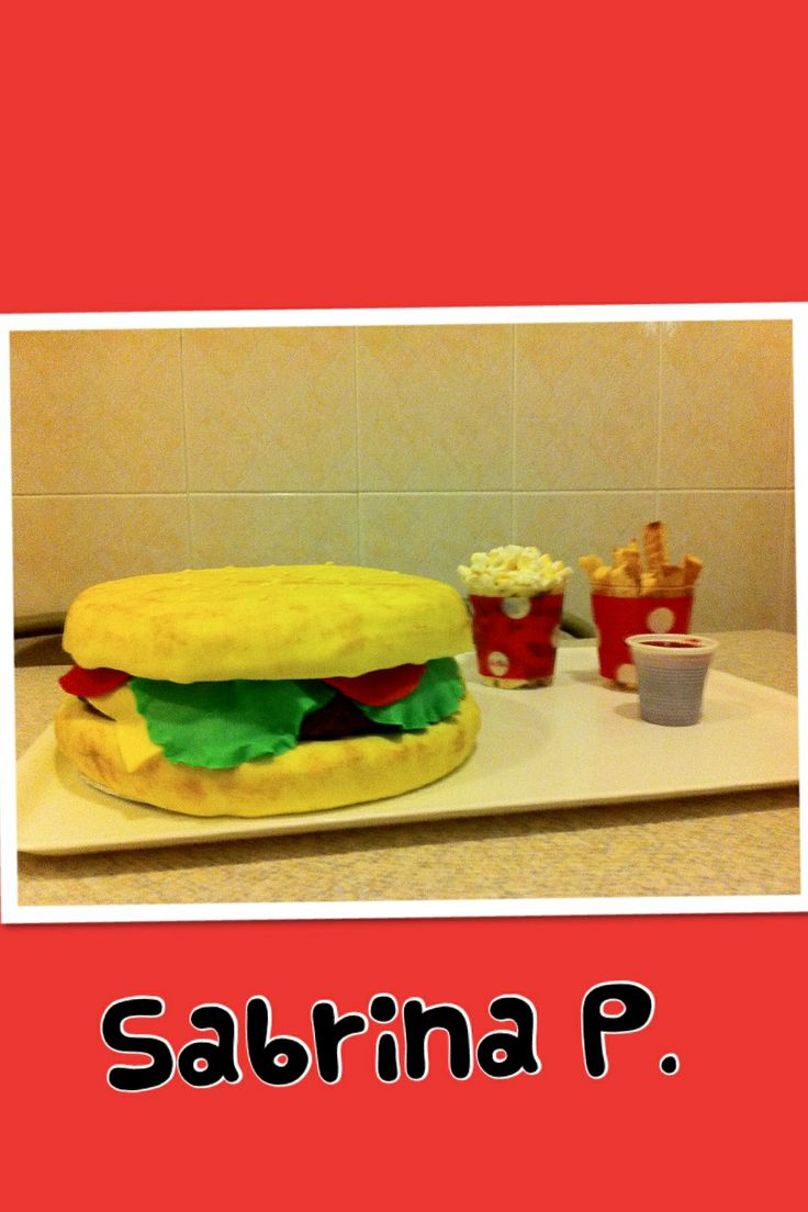 Compleano Andrea .. Torta hamburger!!