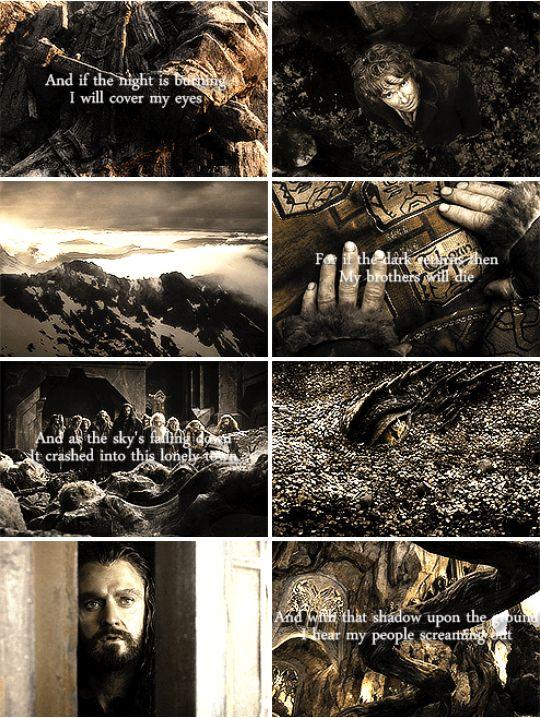 Now I see fire, inside the mountain I see fire, burning the trees I see fire, hollowing souls I see fire, blood in the breeze #thehobbit