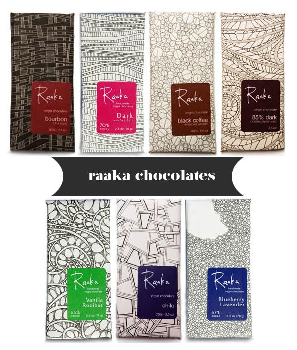 Raaka Chocolate wrappers (by Elissa Barbieri): Uses simple patterns in the form of line art to show the different kinds of flavors. The patterns create an artsy fun feeling. Additionally, the wrappers are printed with soy inks on FSC-certified, 100% post consumer recycled, chlorine-free paper that was processed by wind generated energy.