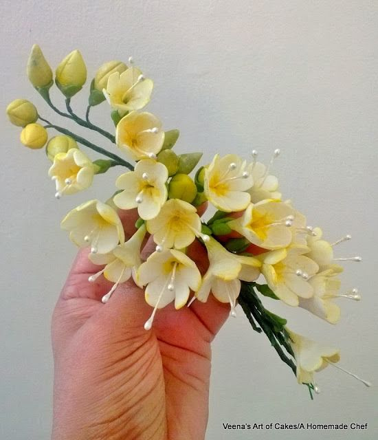 Veena's Art of Cakes: How to make Gum Paste Freesias
