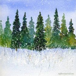 Tutorial shows how to paint a watercolor forest then add splattered acrylic paint and a little glitter to create a beautiful snow scene.